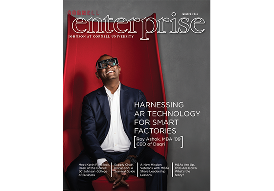 Cover of Cornell Enterprise publication for winter of 2019 featuring Roy Ashok
